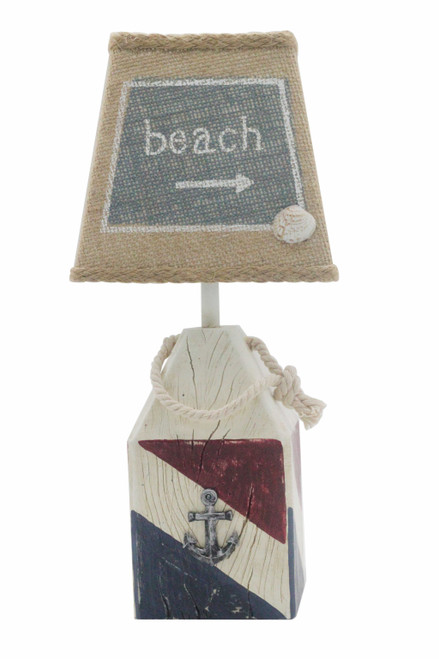 Red White and Blue Beach Buoy Acent Lamp. 380548