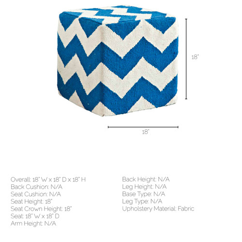 Blue and White Wool Sqaure Pouf with Zig Zag Pattern. 380600