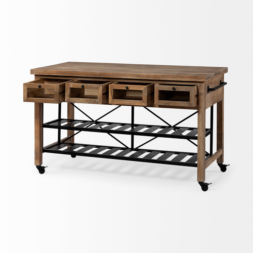 Brown Solid Wood Top Kitchen Island with Two Tier Black Metal Rolling. 380617