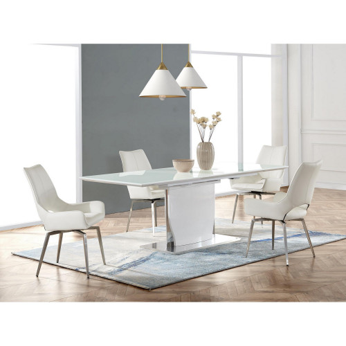 White tone with Pedestal style base Dining Table. 383829