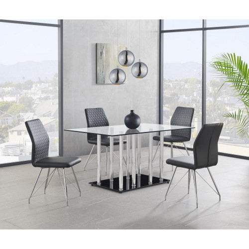 Black Glossy Base and Chrome Metal Legs with Rectangular Glass Top Dining Table. 383832
