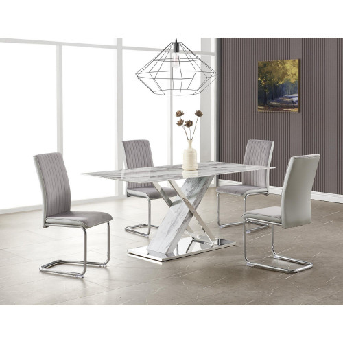 Elegant Marble Glass Top Dining Table with X Base Stainless Steel Accents. 383834