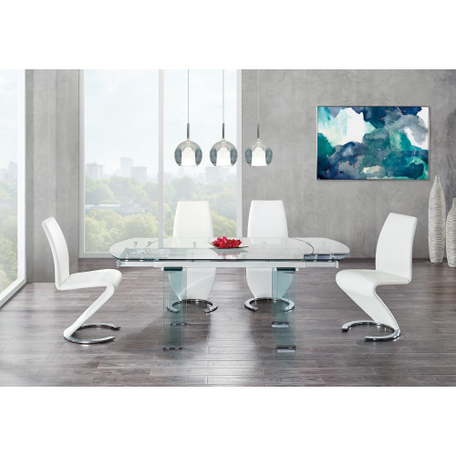 Clear Glass Leg Dining Table with Chrome Support for Glass Top. 383894