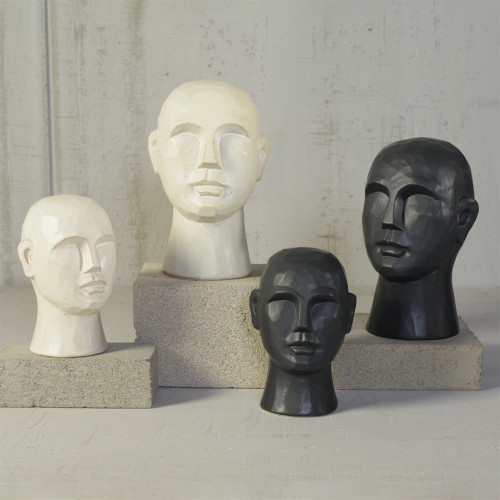 "8"" Matte White Ceramic Bust Decorative Sculpture. 384115"