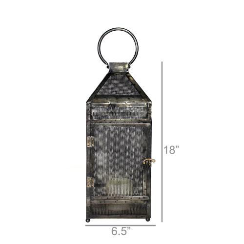 Rustic Industrial Gray Mesh and Metal Lantern. 384122