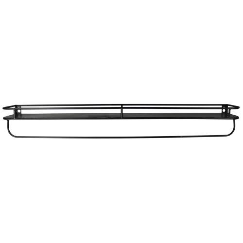 "32"" Black Rectangular Wall Mounted Iron Shelf with Hanging Bar. 384127"