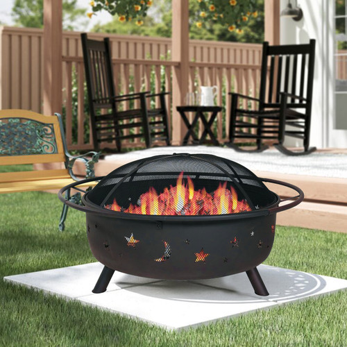 """36"""" Wood Burning Fire Pit with Charcoal Grill and Spark Screen. 384131"""