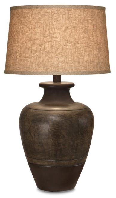 Set of 2 Rustic Brown Two Tone Ceramic Table Lamp. 384396