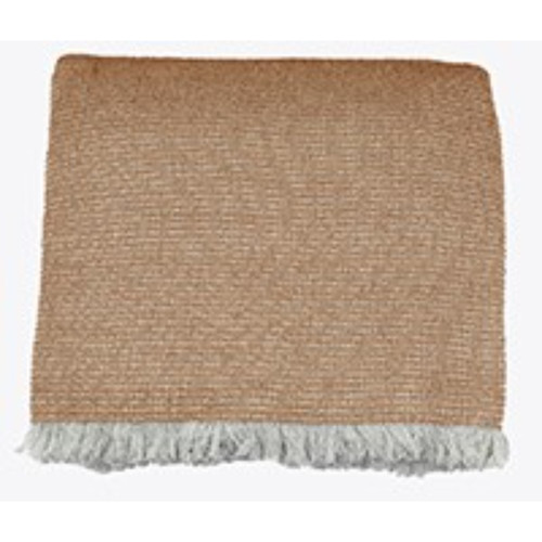 Soft Oatmeal Brown Cotton Chambray Waffle Weave Throw Blanket. 384428