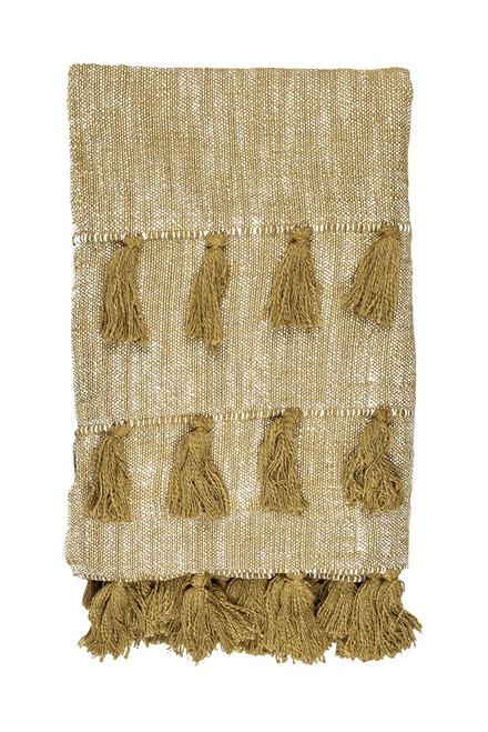 Golden Mustard Multi Tassle Woven Cotton Throw Blanket. 384432