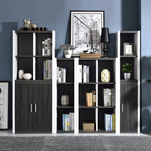 Versatile Six Shelf White and Gray Cubby Bookshelf. 384451
