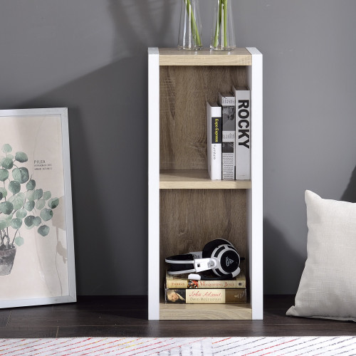 Versatile Two Shelf White and Natural Cubby Bookshelf. 384453