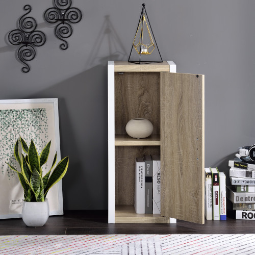 Versatile White and Natural Single Door Bookshelf. 384454