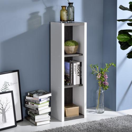 Versatile Three Shelf White and Gray Cubby Bookshelf. 384455
