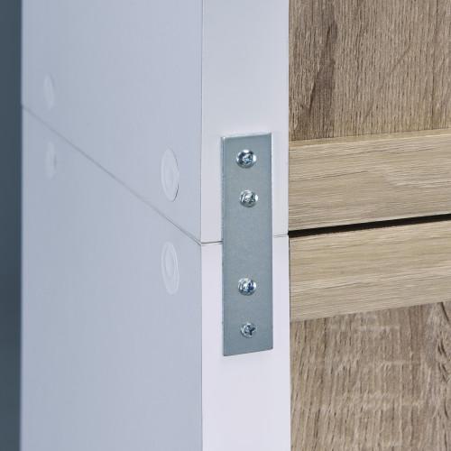 Versatile Three Shelf White and Natural Cubby Bookshelf. 384456