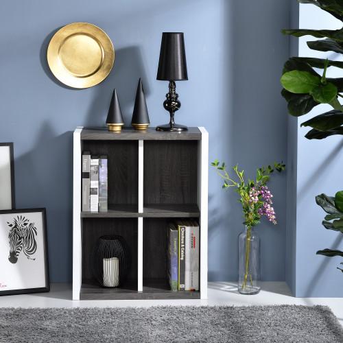 Versatile Four Shelf White and Gray Cubby Bookshelf. 384457