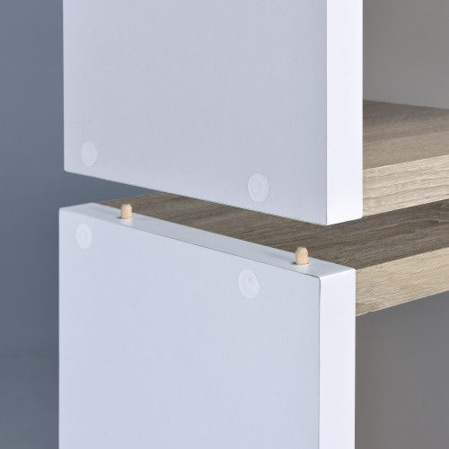 Versatile Four Shelf White and Natural Cubby Bookshelf. 384458