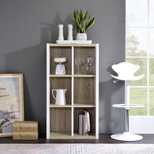 Versatile Six Shelf White and Natural Cubby Bookshelf. 384462