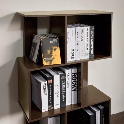 Mod Walnut Finish Open Cube 4 Shelf Bookcase. 384463