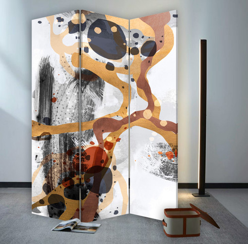 3 Panel Reversible Abstract Art Room Divider Screen. 384579