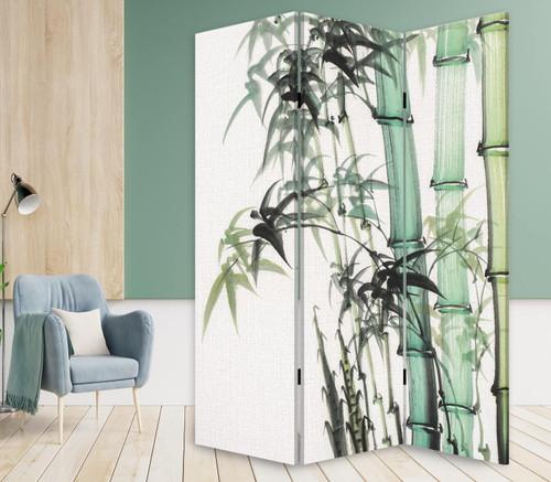 3 Panel Reversible Bamboo Art Room Divider Screen. 384580