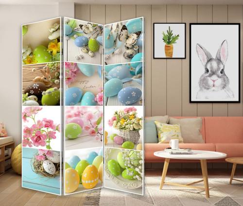 3 Panel Reversible Easter Spring Art Room Divider Screen. 384582
