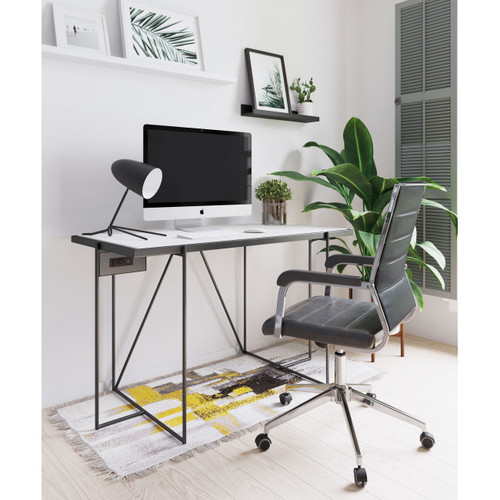 Gray Channeled Faux Leather Rolling Office Chair. 385453