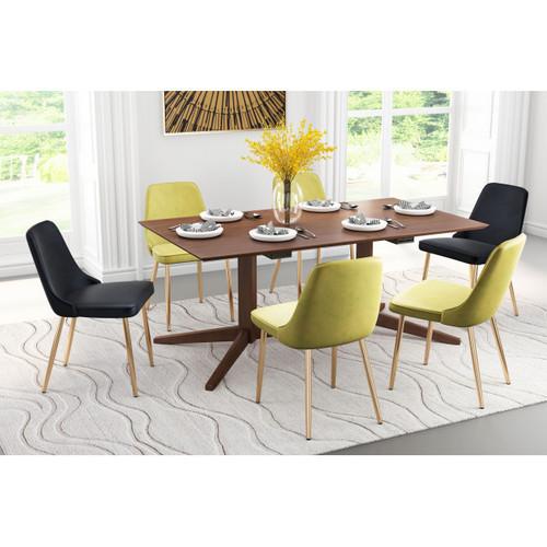 Modern Sleek Walnut Finish Industrial Dining Table. 386241