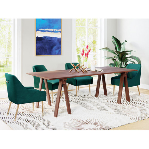 Mid Century Mod Walnut Finish Sawhorse Dining Table. 386243