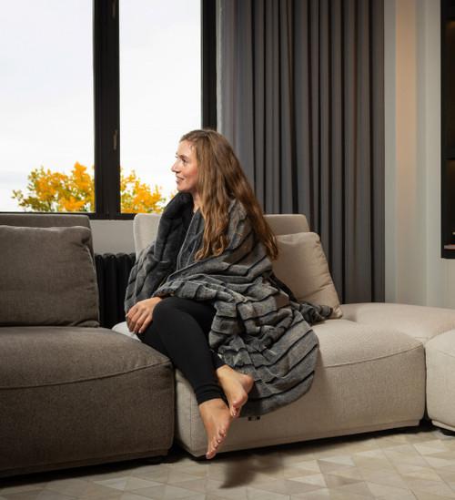 Premier Luxury Gray Stripe Faux Fur Throw Blanket. 386745