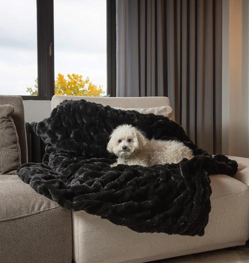 Premier Luxury Onyx Stripe Faux Fur Throw Blanket. 386749