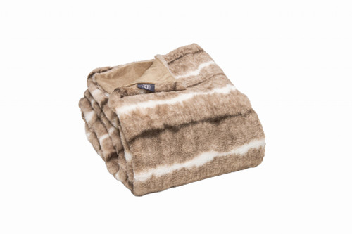 Premier Luxury Light Brown and White Faux Fur Throw Blanket. 386751