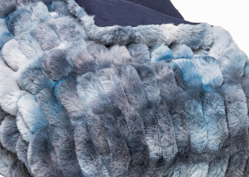 Chunky Sectioned Shades of Blue Faux Fur Throw Blanket. 386754