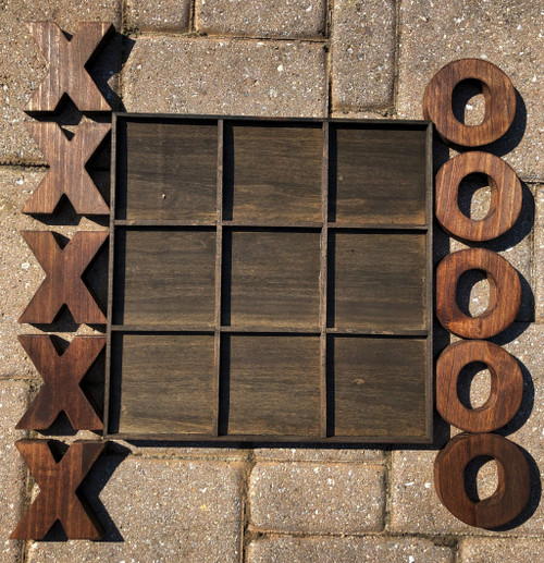 Rustic Handmade Indoor Outdoor Chestnut Large Tic Tac Toe. 387915