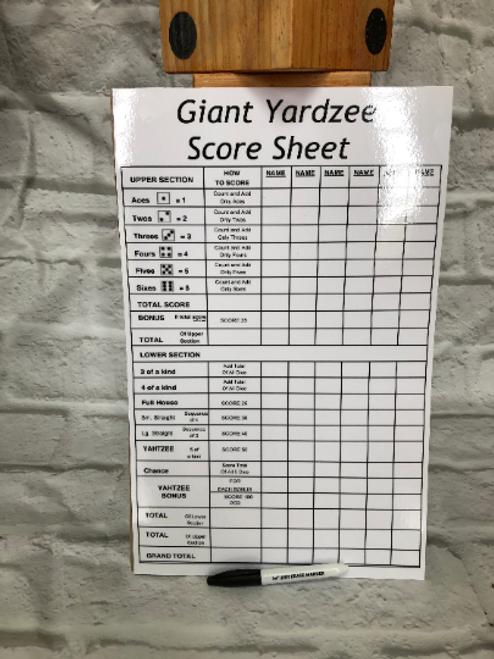 Giant Outdoor Yardzee Dice Game Set. 388474