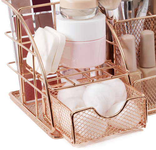 Stylish Rose Gold Makeup and Skin Care Organizer for Vanity. 388478
