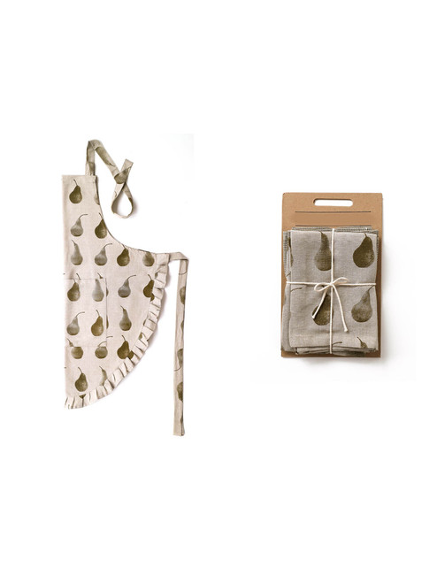 Set of Dark Green Pear Patterned Apron with Matching Tea Towels. 388917