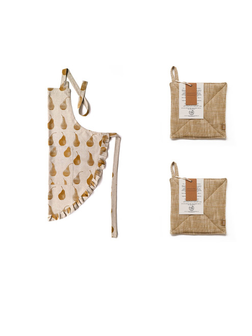 Set of Pale Yellow Pear Design Apron with Two Trivets. 388921