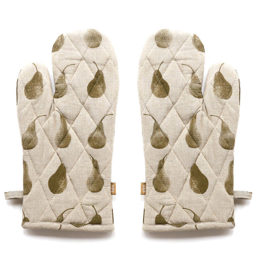 Set of Two Olive Green Tea Towels with Matching Oven Gloves. 388975