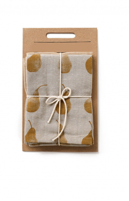 Set of Two Yellow Tea Towels with Matching Oven Gloves. 388976