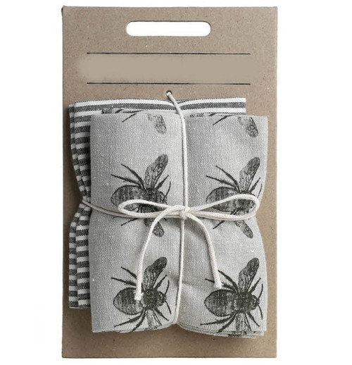 Set of Two Tea Towels with Dark Green Bumble Bee Oven Gloves. 388978