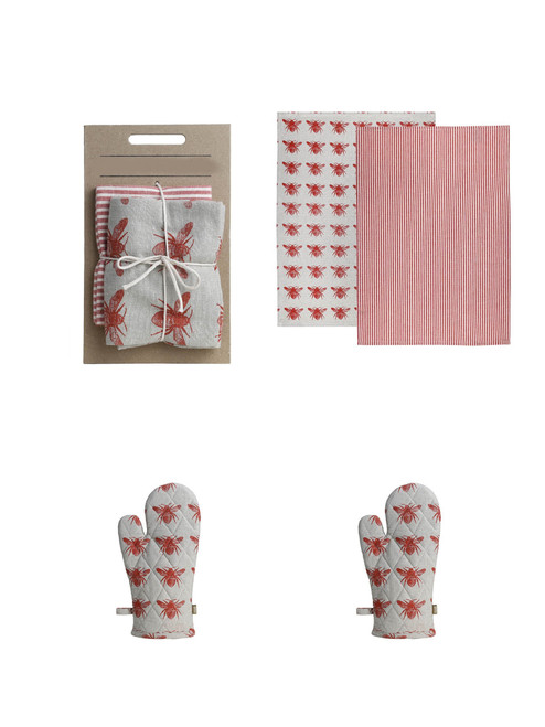 Set of Two Tea Towels with Burnt Sienna Bumble Bee Oven Gloves. 388981