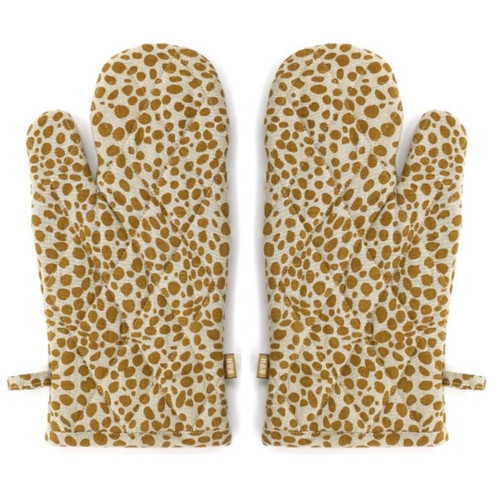 Set of Two Tea Towels with Pale Yellow Animal Print Oven Gloves. 388982