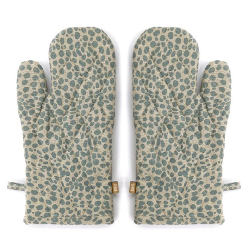 Set of Two Tea Towels with Periwinkle Animal Print Oven Gloves. 388983