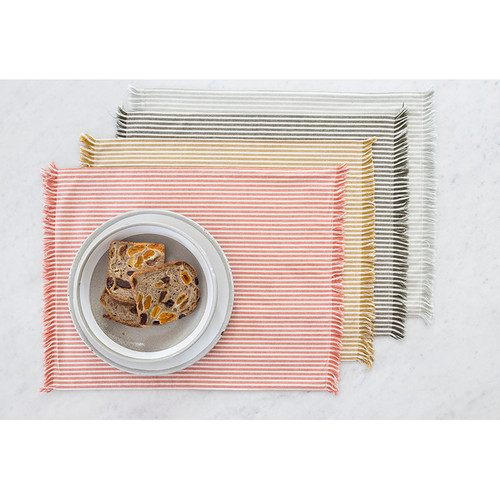 Set of EightDull  Green Striped Placemats. 388991