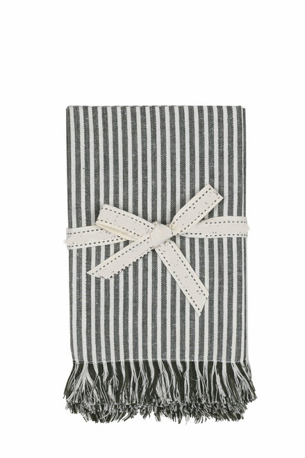 Set of Eight Leaf Green Stripe Napkins. 388996