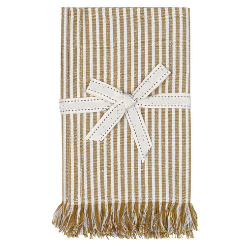 Set of Eight Ochre Stripe Napkins. 388998