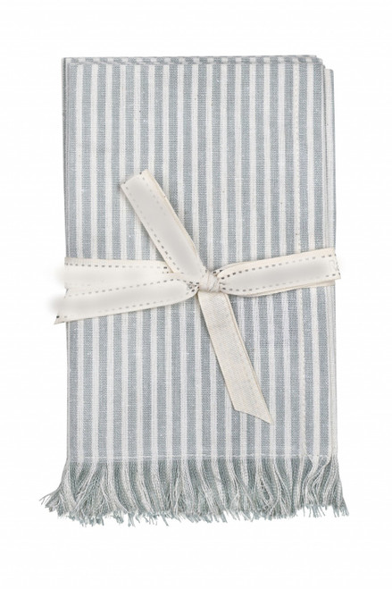 Set of Light Blue Striped Table Runner and Eight Napkins. 389007