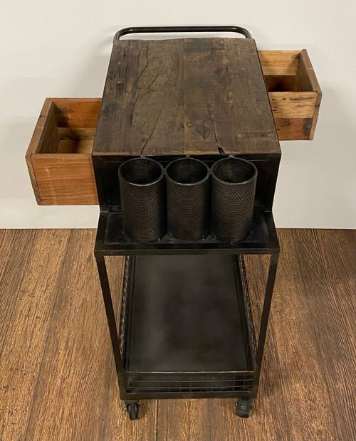 Rolling Rustic Black and Natural Bar Cart. 389227