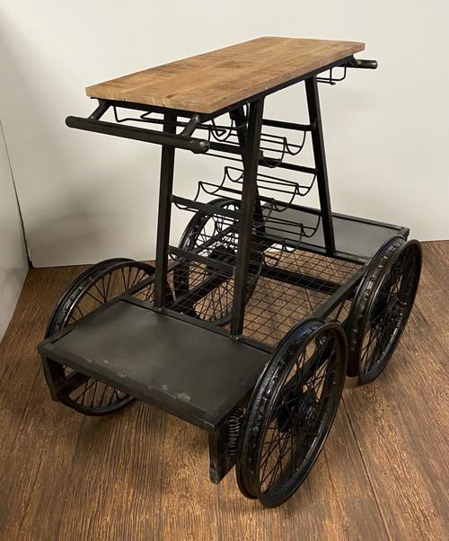 Rustic Black Rail Car Bar Cart. 389228